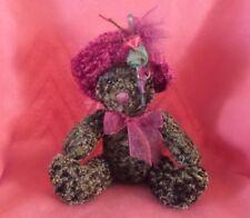 """DAN DEE Plush Brown Bear Red Velvet Rose Hat and ne - 8"""" Stuffed Animal"""