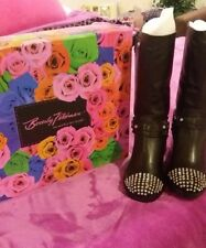 Beverly Feldman- Babka Black leather boots with crystal rhinestones  Size 6.5 M.
