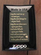 Zippo Windproof Irish Blessing Lighter, Black Matte, # 28479, New In Box