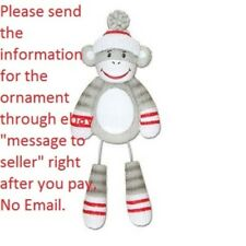 GRANDSON GRAND BABY'S FIRST SOCK MONKEY PERSONALIZED CHRISTMAS TREE ORNAMENT