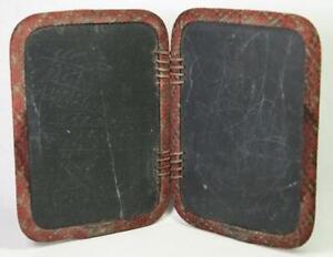 Antique School Child's Bi-Fold Double Sided Slate Chalkboard Woven Edges Leather