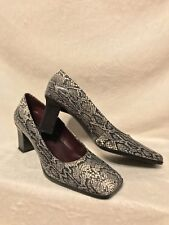 NEW NINE WEST Black White Snakeskin Look Leather Pumps Shoes, 8.5