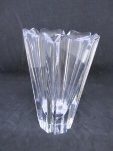 ORREFORS SWEDEN CLEAR GLASS HEAVY VASE ENGRAVED BASE