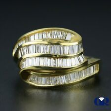 Natural 1.25 Ct Baguette Diamond Right Hand Ring & Cocktail Ring 14K Yellow Gold
