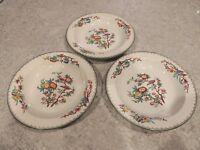 3 Antique Wedgwood Cuckoo Rim Soup Bowls Impressed Mark A5166