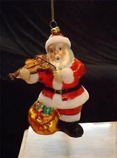 RARE BLOWN GLASS SANTA PLAYING VIOLIN CHRISTMAS MUSICIAN ORNAMENT