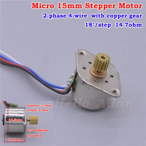 Micro Mini 15MM Stepper Motor 2-Phase 4-Wire  Stepping Motor Copper metal Gear