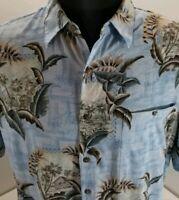 Batik Bay Mens XL Blue Hawaiian Shirt Island Palm Trees Huts Button Front