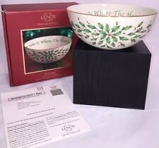 "New Lenox Holiday Sentiment Bowl Home Is Where The Heart Is 7"" Holly 804150"