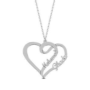 Namenskette Halskette aus 925 Silber mit zwei Wunschnamen und Herz