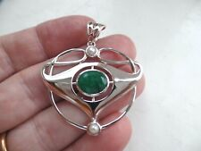 Large Art Nouveau Style Sterling Silver Emerald & Pearl Pendant May Birthstone