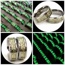 20pcs/lot Skull Luminous Ring Growing In Dark Skeleton Stainless Steel Punk Ring