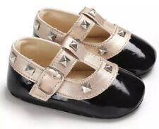 0-6months Black Baby Shoe Moccasins With Rock Studs Valentino Designer Baby Shoe
