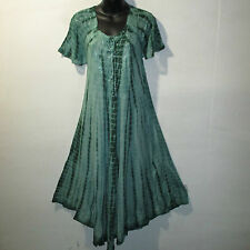 Dress Fits 1X 2X Plus Long Sundress Green Tie Dye Lace Sleeves A Shaped NWT 7601