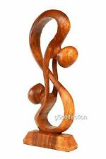"12"" Wooden Abstract Sculpture Statue Hand Carved ""Hold Me Tight"" Gift Art Decor"