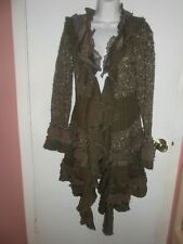 Women's John Fashion Sweater Curly Fringe Brown size XL inside buttons