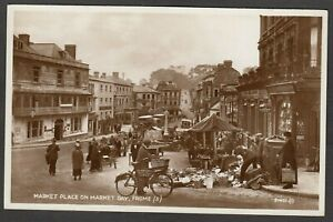 Postcard Frome nr Shepton Mallet Somerset the Market Place butchers bicycle RP