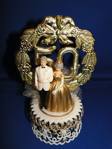 New 50th Wedding Anniversary Couple Caketopper with Bride & Groom in Gold