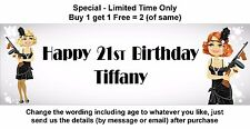 Personalised Birthday Party Banner, Sign, Retro, Flapper, Gangster 1920s, Gun.