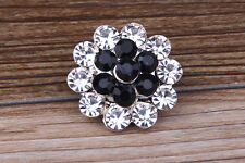White/Black Rhinestone flower Charm Chunk Snap Button fit for Noosa Bracelet #80
