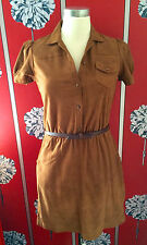 NEW MASSIMO DUTTI SUEDE LEATHER DRESS BOW BELT S