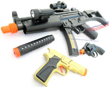 2x Toy Guns Military HUGE Elec. MP5  w/ Silencer & Gold Pistol 9MM Toy Gun Set