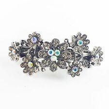 USA BARRETTE Rhinestone Crystal Hairpin Claw Clip Metal Vintage Flower Silver 16