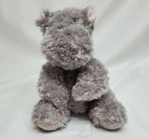 "Aurora World Tubbie Wubbie Fuzzy Gray Hippo Plush 10"" In Pink Ears Plastic Eyes"