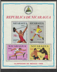 Nicaragua 1968: #C266a Olympic Summer Games SS NH:Lot#1/26