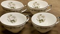 Set of 4 Flair Fine China Irene Japan Coffee Cups Silver Trim EUC