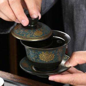 Chinese Tea Set Classical Gaiwan Cup Black Clay 180ml Traditional Handmade Bowl