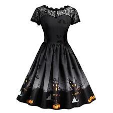 Vintage Retro Halloween Women Pumpkin Short Sleeve Lace Dress A Line Tea Dress