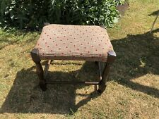 SMALL VINTAGE WOODEN FABRIC  TOP STOOL  FOOTSTOOL