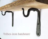 2 Mini Shelf Brackets Handmade Wrought Iron Hook Mug Holder CD Spice Rack Hanger