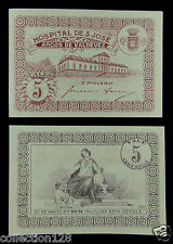 Portugal 5 Centavos Emergency Money Hospital S Jose 1920s Almost Uncirculated