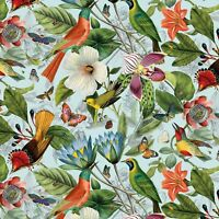 Fabric Birds Floral Secret Escape Blue ELIZABETH Cotton 1/4 yard 18000 Large Pnt
