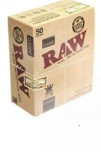 RAW King Size Slim Classic Natural Unrefined Rizla Rolling Papers box of 50