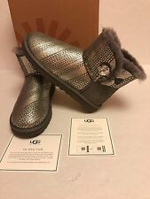 UGG Australia Mini Bailey Button Bling Swarovski Boots Grey NWT$195 ~ 9
