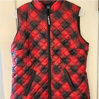 Karen Scott Women's Quilted Winter Sport Vest Red & Black Plaid Size Small NWT
