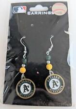 Oakland A's MLB Bead Dangle Earrings, Baseball Jewelry