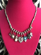 Betsey Johnson Vintage Bows Bat Cameo Rose Crystal Heart Colorful Charm Necklace