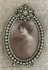 Picture Frame Vintage Style Oval with Pearls and Beads Height app 8 CM