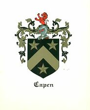 Great Coat of Arms Capen Family Crest genealogy, would look great framed!
