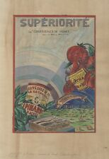 """""""Les CONSERVERIES DE FRANCE"""" Maquette gouache sur papier A. DUTRICH 1930 38x48cm"""
