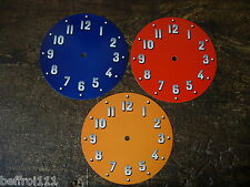 Lot 3 cadrans pendule orange rouge et bleu,deco,vintage dial loft 70s design