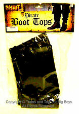 PIRATE BOOT TOPS Black Vinyl Covers Boots Halloween Pirates Costume Accessory I