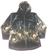 Gray Wolves Hooded Ultra Plush Fleece Wolf Jacket  XS - 4X