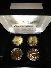 2007 USA MINT GOLD PRESIDENTIAL $1 DOLLAR 4 COINS SET Gift Box Certified