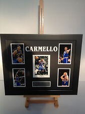 UNIQUE PROFESSIONALLY FRAMED, SIGNED CARMELLO ANTHONY PHOTO COLLAGE WITH PLAQUE.