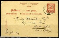 GERMANY BAVARIA NUREMBERG 4/1/1903 POSTCARD TO LONDON, GREAT BRITAIN AS SHOWN